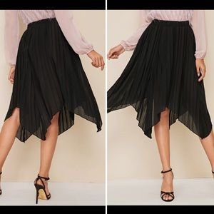 NWOT Black Asymmetrical Hem Ruffle Skirt